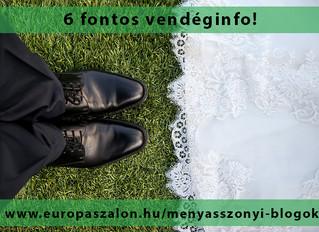 6 fontos esküvői információ az esküvői násznépnek