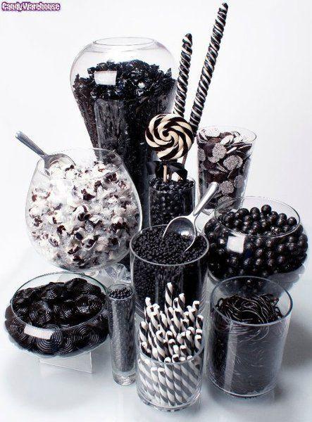 Fekete esküvői candy bar