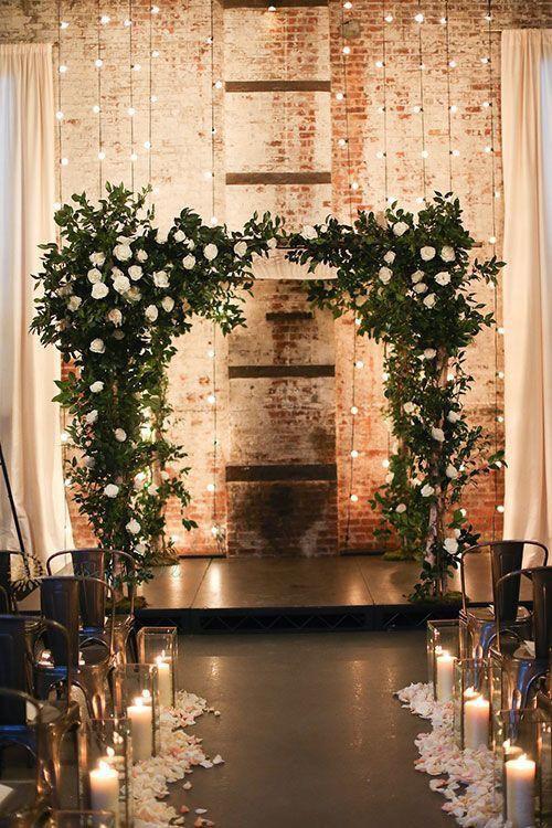 Greenery esküvői stílus oltár dekoráció