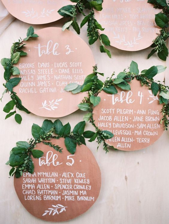 Greenery esküvői sítlus ültetési rend