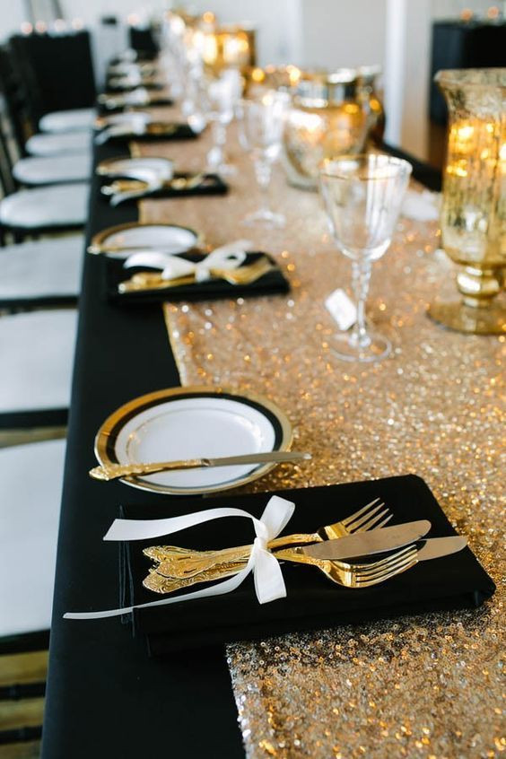Fekete esküvői teríték