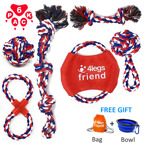 Dog Rope Toys - 6 Pack for Medium & Large Dogs and aggressive Chewers