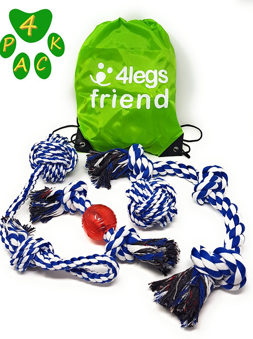 4LegsFriend Tug of War Toy Set for Aggressive Chewers - 4 Pack Ropes