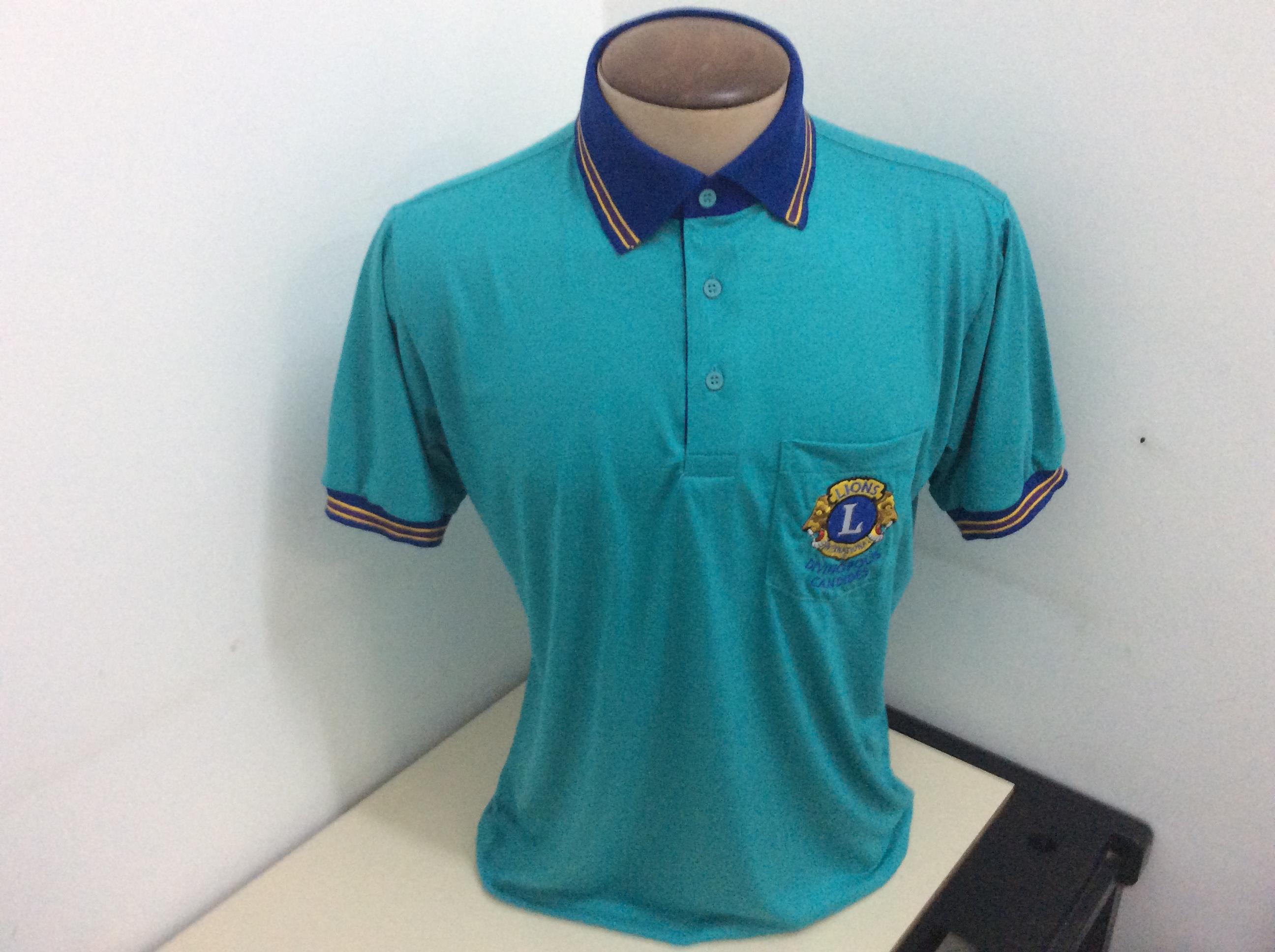 Camisa gola polo PV com det gola.