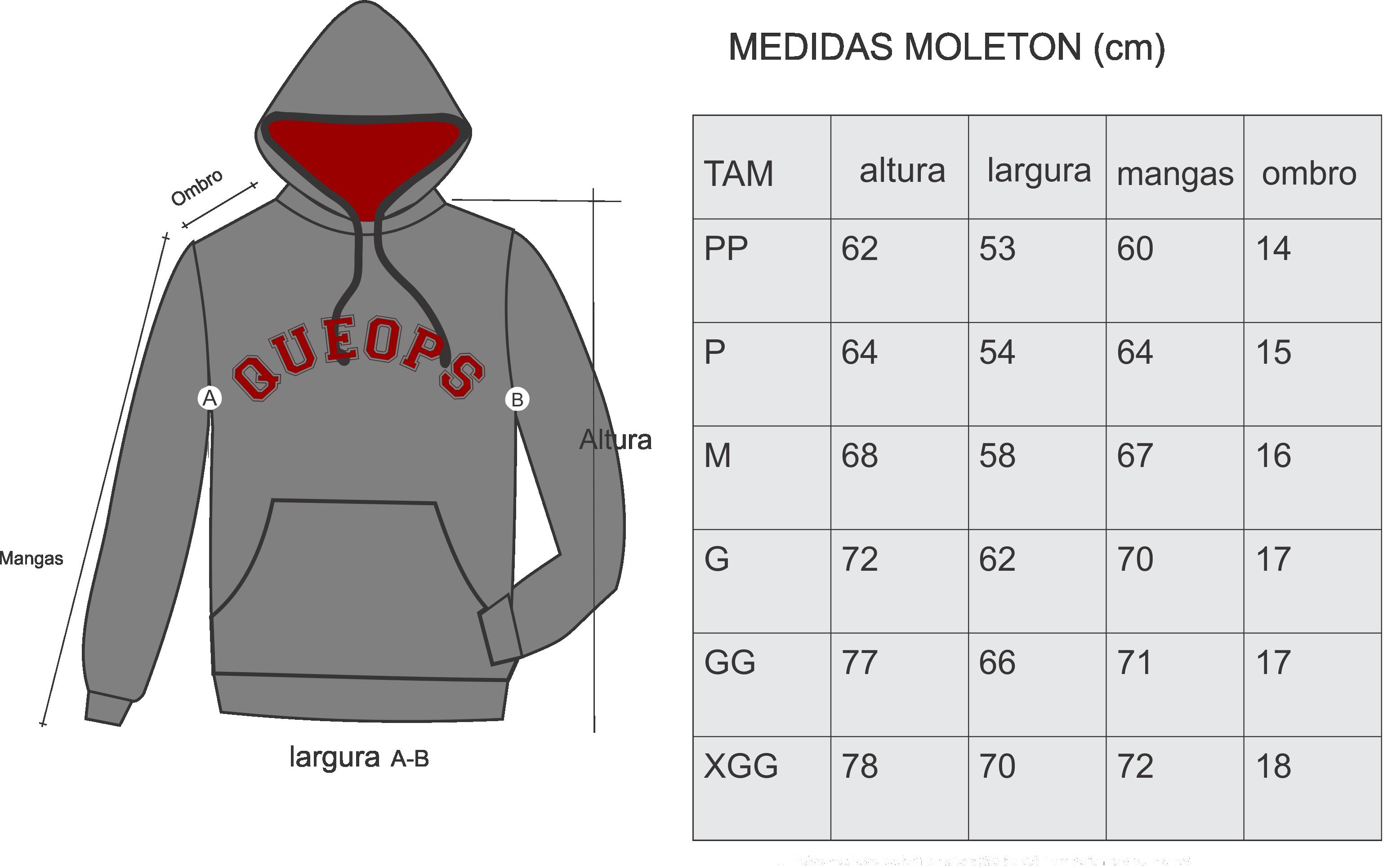 MEDIDAS MOLETOM