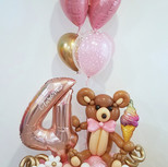 Teddy Bear, ice cream with lots of flowe
