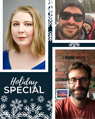 Keeping Faith Podcast, Season 2 - Episode 10, Holiday Special with Kate, Luke and Dave on dark blue background with snowflakeswith in brown blazer, on light grey background