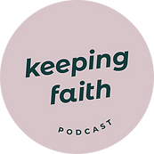 Keeping Faith Podcast logo in dark green on light pink background in circle