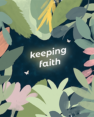 Keeping Faith Podcast logo backlit with moths and surrounded by plants and flowers