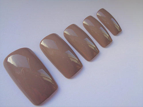 Wide fit false nails shiny Cappuccino 5 styles