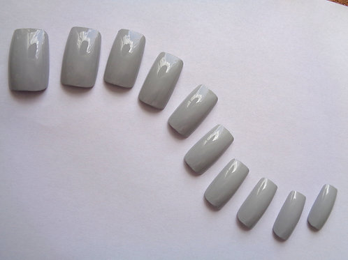 Wide fit false nails Pale Grey in 5 styles