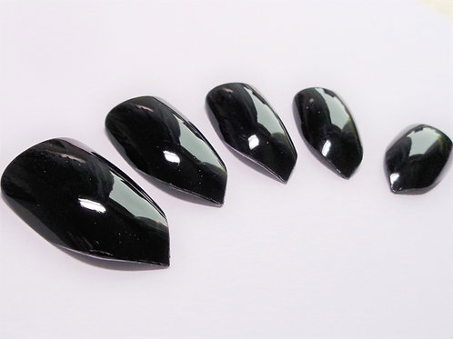Shiny black wide fit false nails in 5 styles