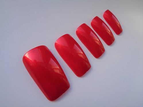 Wide fit false nails frosted strawberry shine in 5 styles