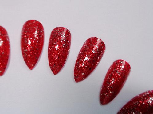 Wide fit scarlet glitter stiletto false nails