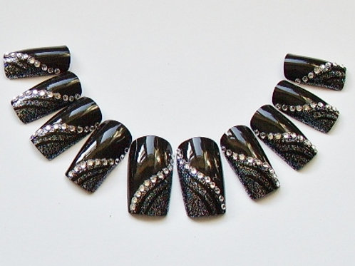 Wide fit black with silver glitter and crystal embellishments