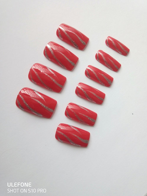 Wide fit scarlet red false nails with silver flash detail