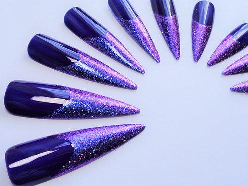 Extra long indigo & glitter tip standard size stiletto