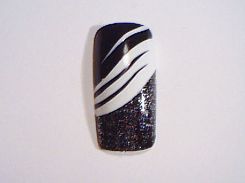 Wide fit black & white diagonal design false nails with glitter tip