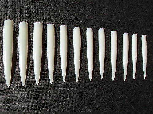 Set of 20 extreme length fetish white nail tips to paint