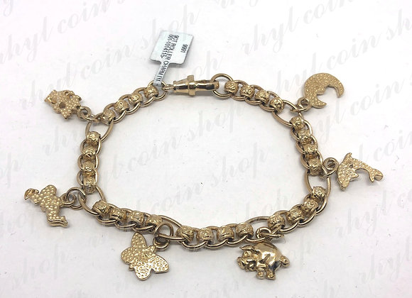 9CT GOLD ROLLERBALL CHARM BRACELET