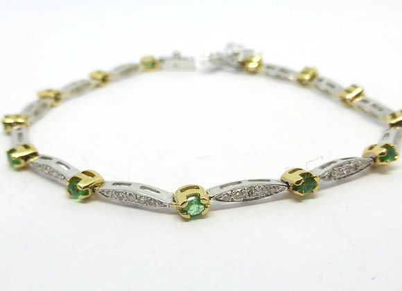 TWOTONE 14CT WHITE AND YELLOW GOLD DIAMOND AND EMERALD