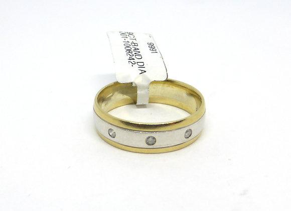 9CT GOLD TWO TONE DIAMOND WEDDING RING