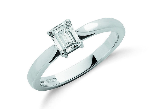 18CT WHITE GOLD .50CT EMERALD CUT DIAMOND RING