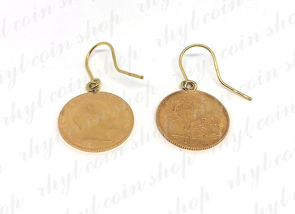 1908 HALF SOVEREIGN EARRINGS