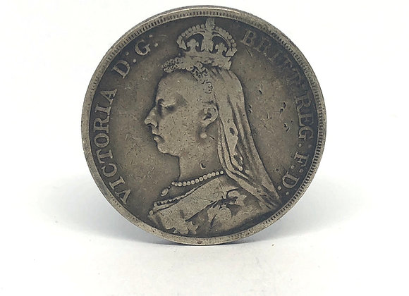 1890 VICTORIA SILVER CROWN COIN