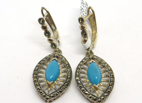 MARCASITE TURQUOISE SILVER DROP EARRINGS