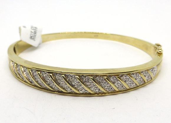 9CT DIAMOND GOLD BANGLE