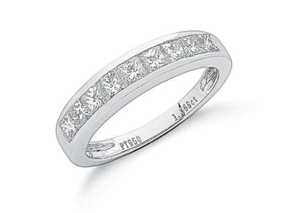 PLATINUM 1CT PRINCESS CUT ETERNITY DIAMOND RING