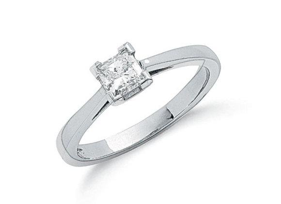 PLATINUM .50CT PRINCESS CUT DIAMOND RING