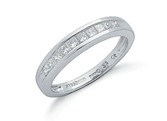 PLATINUM .50CT PRINCESS CUT ETERNITY RING