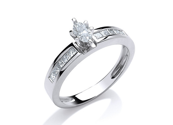 18CT WHITE GOLD .50CT MARQUISE & PRINCESS CUT DIAMOND RING