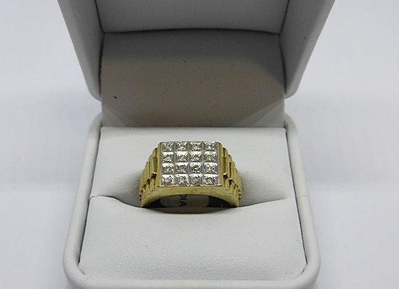 9CT DIAMOND GENTS GOLD RING