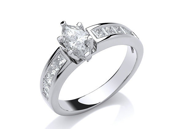 18CT WHITE GOLD 1CT MARQUISE & PRINCESS CUT DIAMOND RING