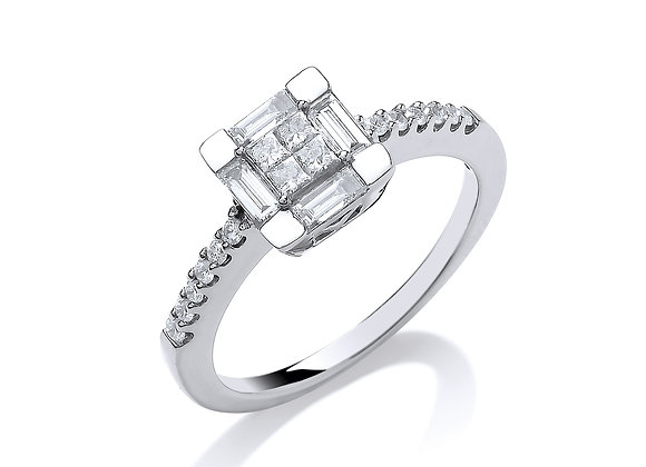 18CT WHITE GOLD .50CT PRINCESS CUT CENTRE DIAMOND RING