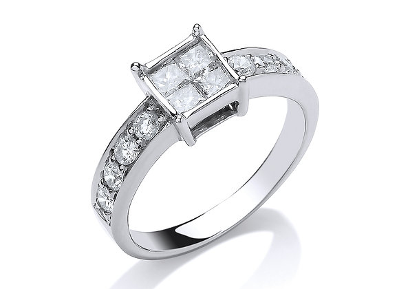 18CT WHITE GOLD .75CT 4 STONE CENTRE PRINCESS CUT DIAMOND RING