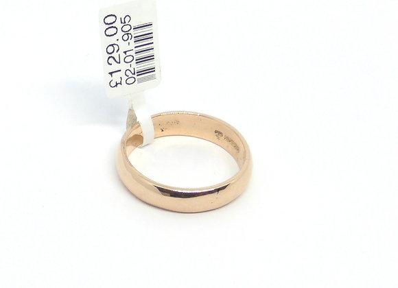9CT ROSE GOLD D SHAPE WEDDING RING