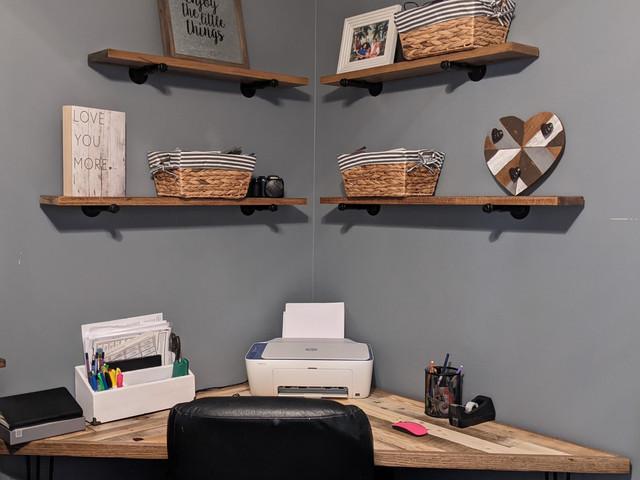 Custom Corner Pallet Desk and Industrial Shelving