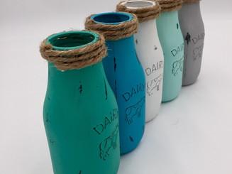 Painted Milk Bottles