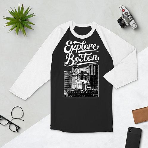 Explore Boston Premium Custom House Tower 3/4 Sleeve T-Shirt