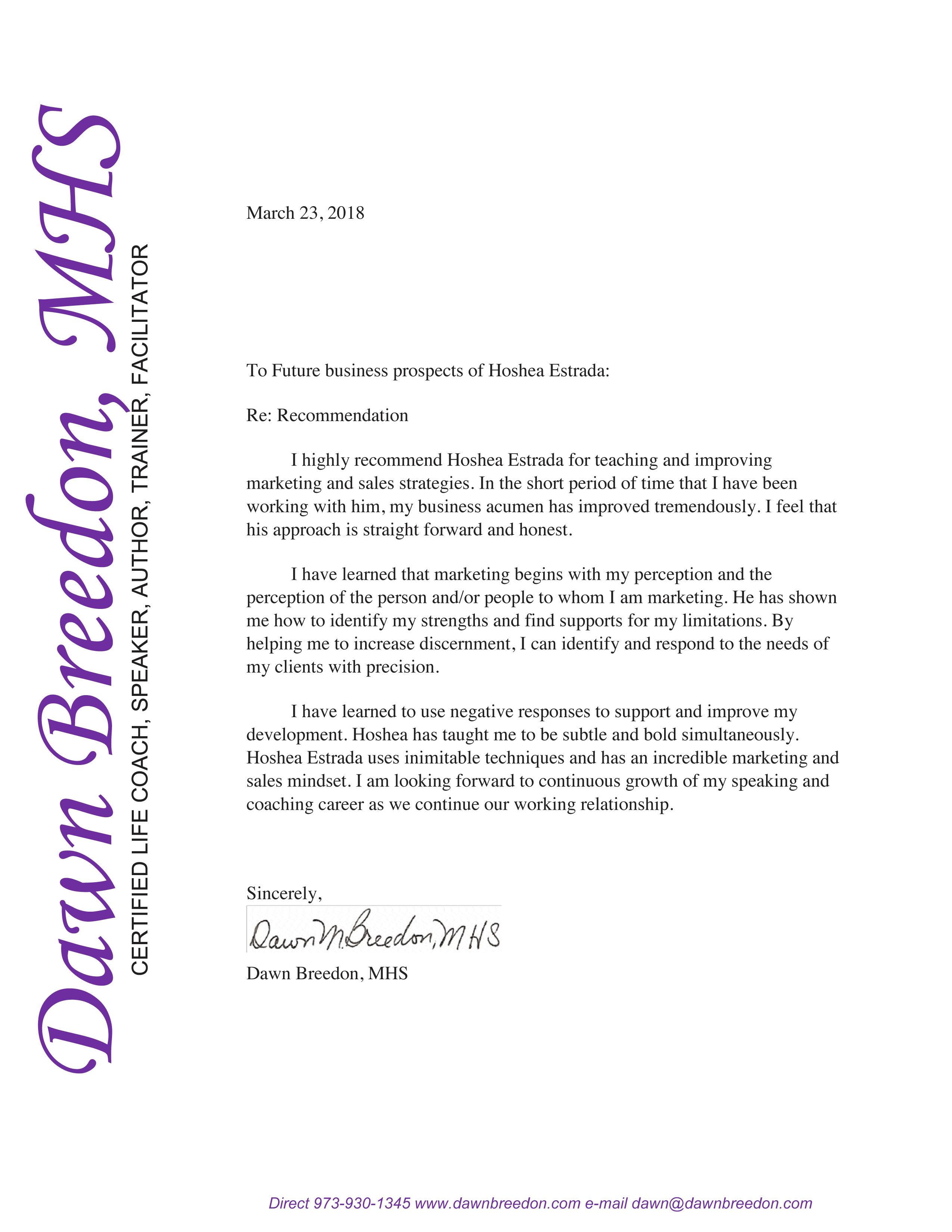 Hoshea Estrada Recomendation