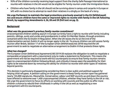 RLS signatory to crucial briefing by Safe Passage, urging Parliament to maintain legal protections