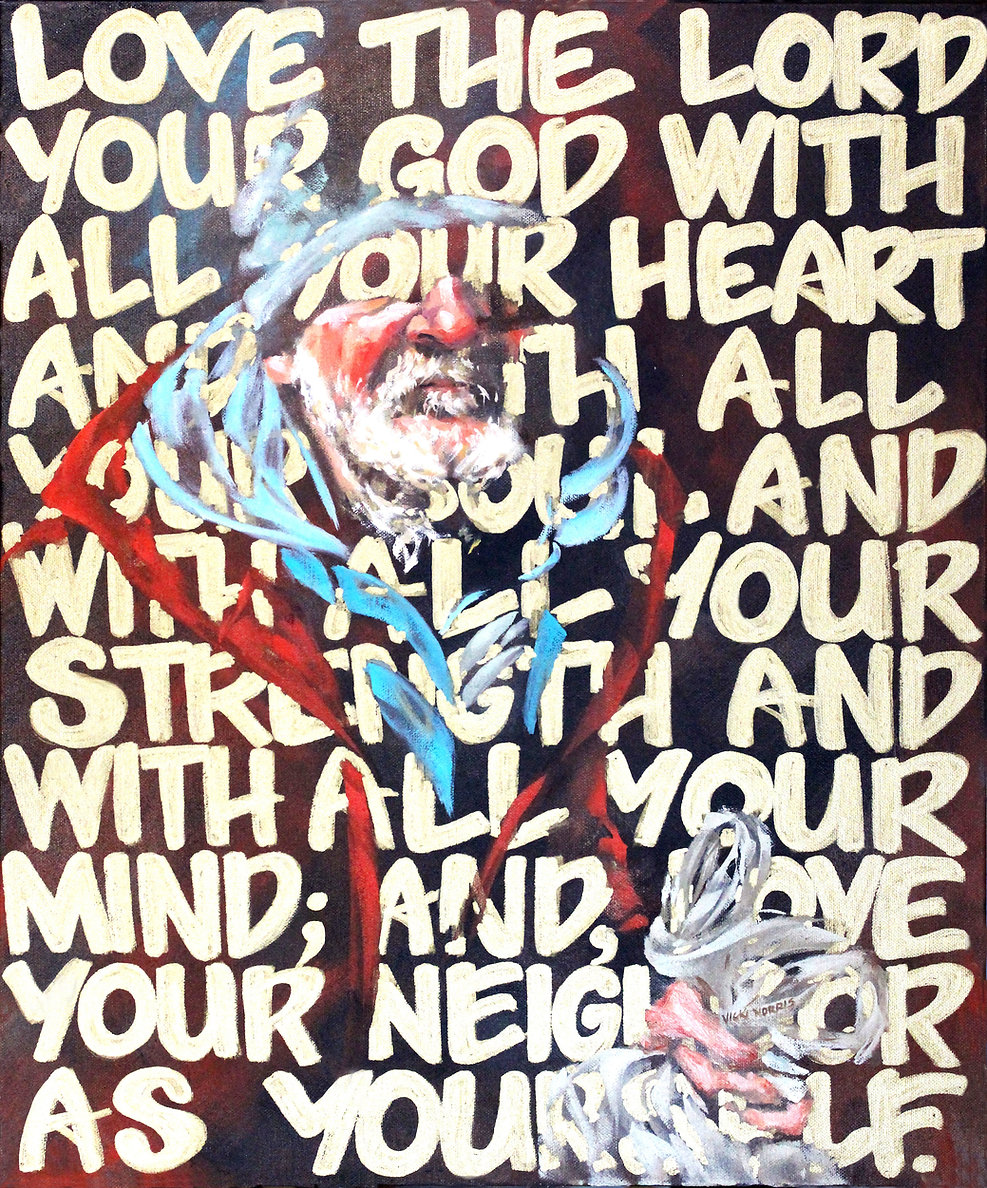Luke 10:27, Love the Lord your God with all your heart and with all your soul and with all your strength and with all your mind; and love your neighbor as yourself, Vicki Norris, oil painting, Ears that hear and eye that See