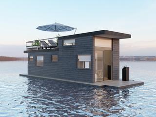 Дизан интерьера и экстерьера плавающего дома на пантоне.