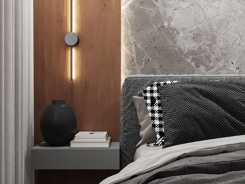Дизайн спальни с гардеробной в стиле минимализм