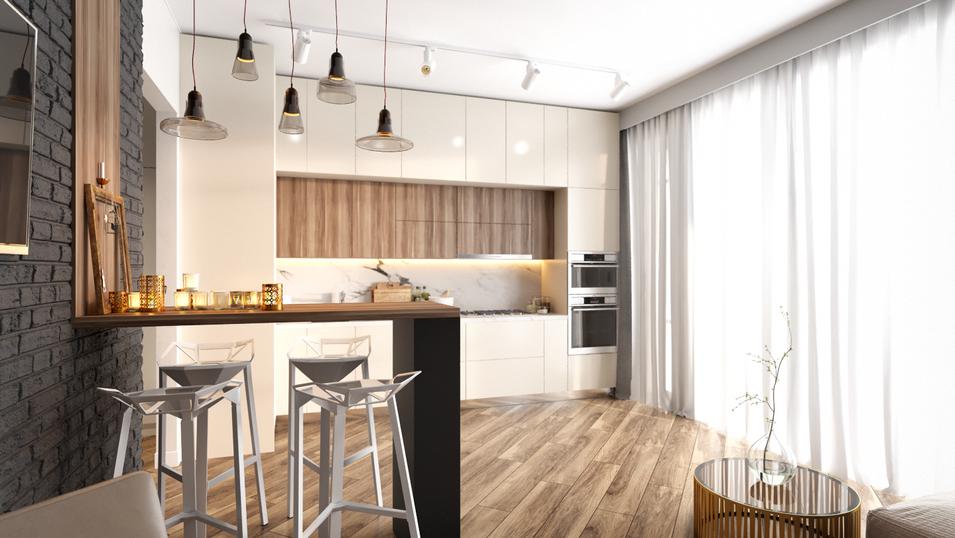 """Проект двух комнатной квартиры- студии """"Мужской акцент"""" 55 м2."""