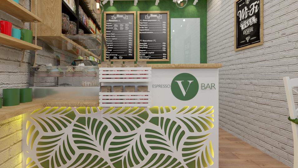 "Проект кофейни ""Verde"" 28 м2."